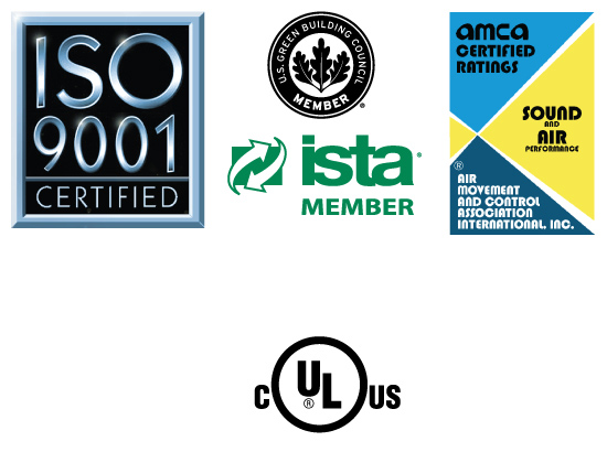 ISO, AMCA, UL, high w ind, and seismic certification logos