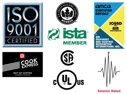 ISO 9001, US-Green, AMCA Sound & Air, CSA, US-C-UL, and Seismic Logos